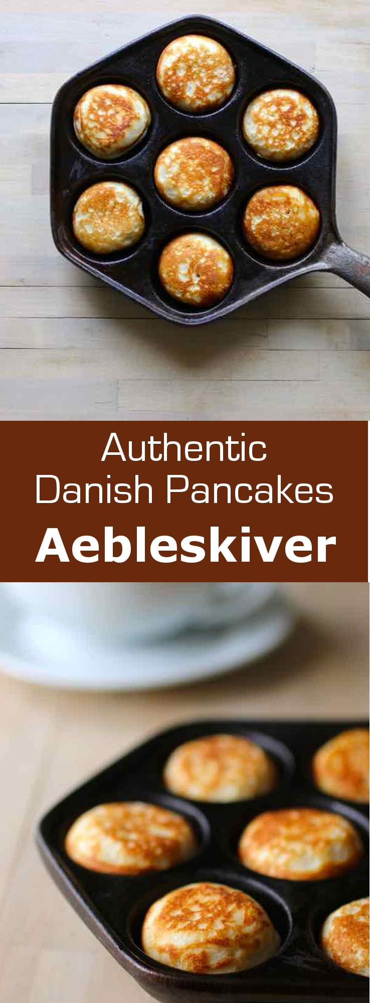Aebleskiver are traditional Danish pancakes that are cooked in a special stovetop pan with half-spherical molds. #Denmark #pancake #Scandinavian #196flavors