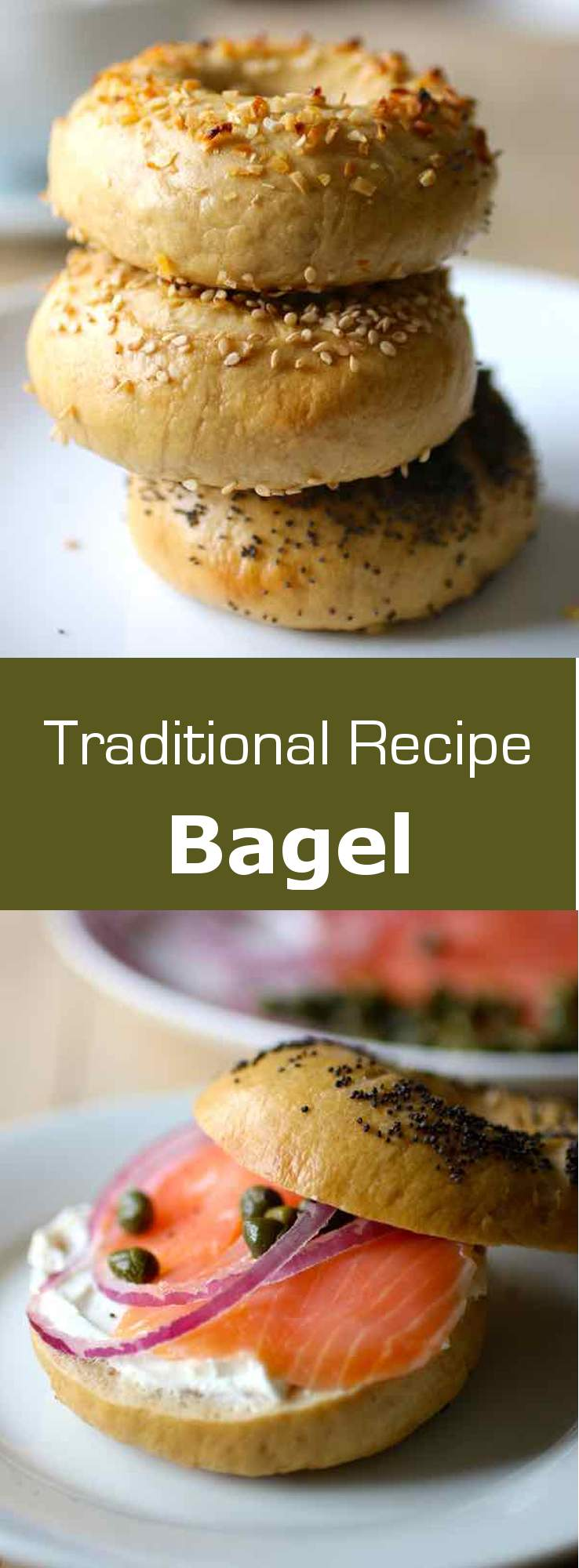 A bagel is a firm doughnut-shaped roll, originally from Poland and popular in the US, that is traditionally made by boiling and then baking. #Poland #Jewish #bread #196flavors