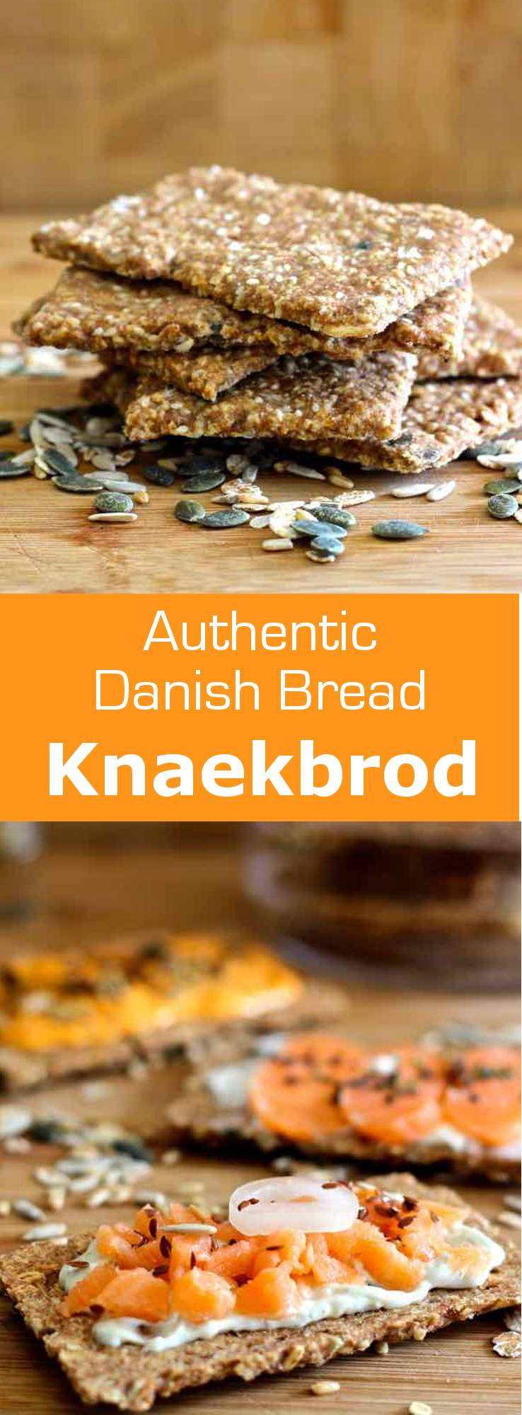 Knækbrød is a rye flour cracker with various seeds widely consumed in Scandinavia, as well as the Netherlands and the UK. #Danish #Swedish #Finnish #Norwegian #Bread #196flavors