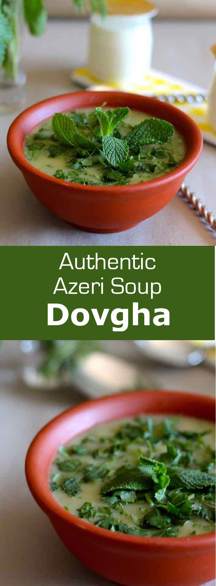 Dovga is a yogurt soup with herbs from Azerbaijan. It can be consumed hot or cold depending on the season. #Azerbaijan #Soup #WorldCuisine #196flavors