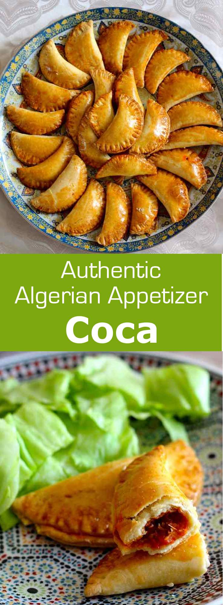An Algerian coca is a small turnover filled with frita, a mixture of bell peppers, tomatoes and onions that are simmered in olive oil. #Algeria #appetizer #ramadan #196flavors