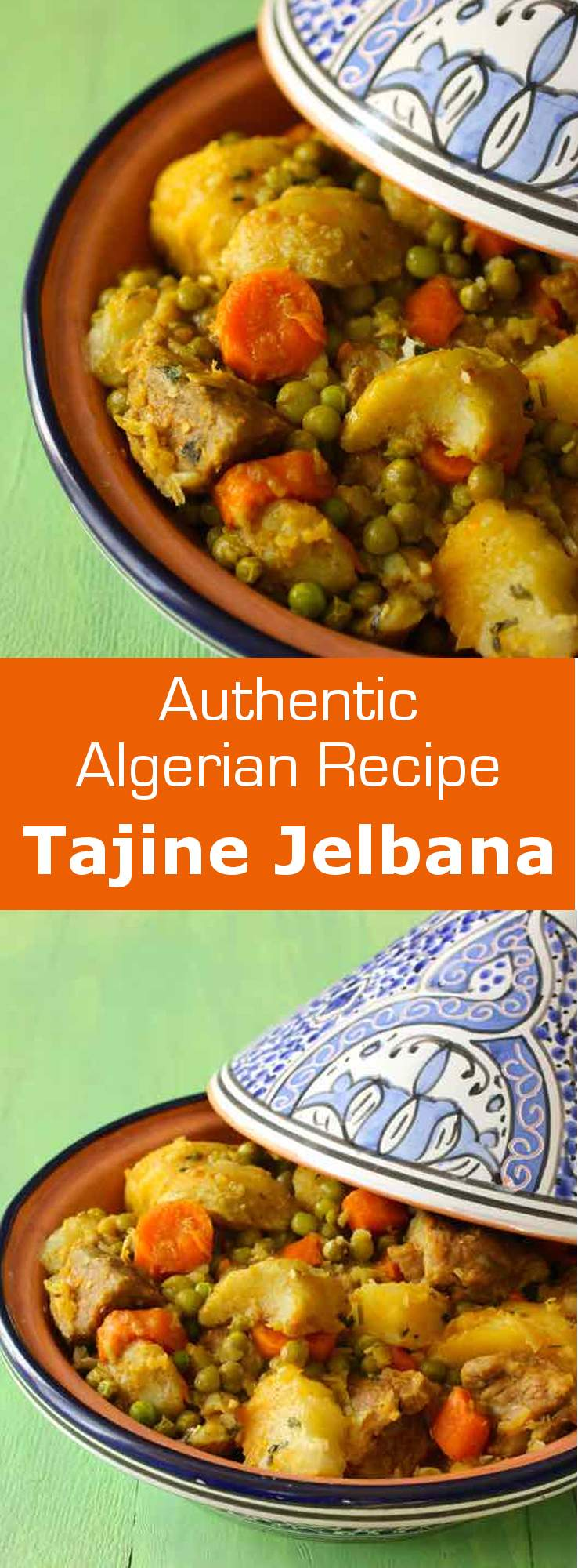 Tajine jelbana is a traditional North African meat stew prepared with peas, artichoke, potatoes and carrots. #algeria #tunisia #maghreb #northafrica #196flavors