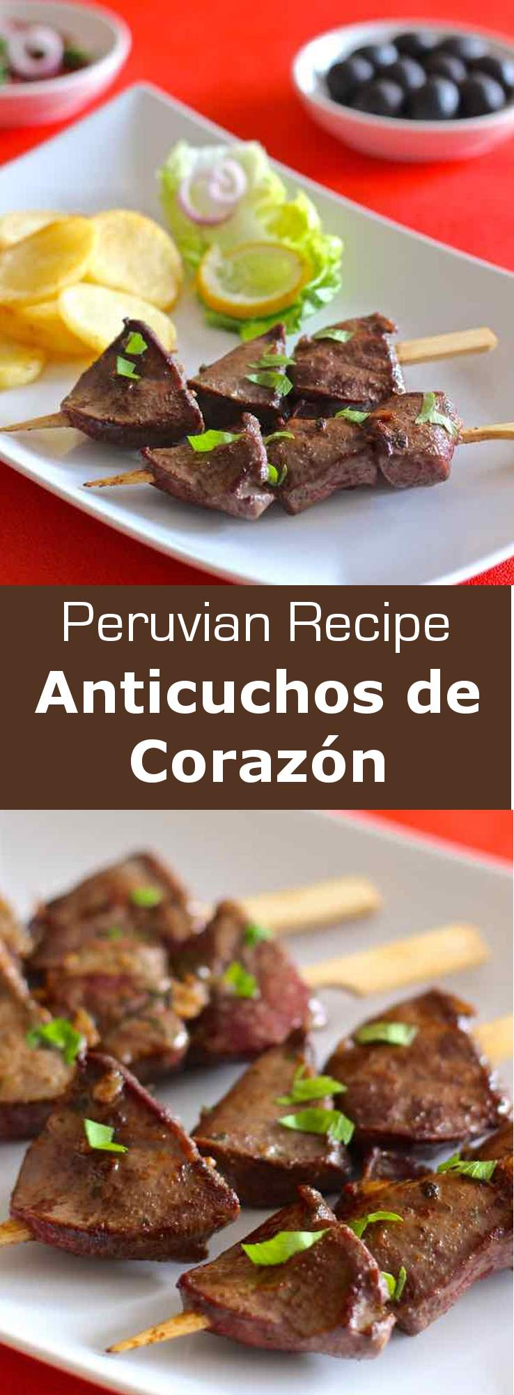 Anticuchos de corazón are beef heart chunks that are marinated for several hours, before being skewered and grilled. #BBQ #peru