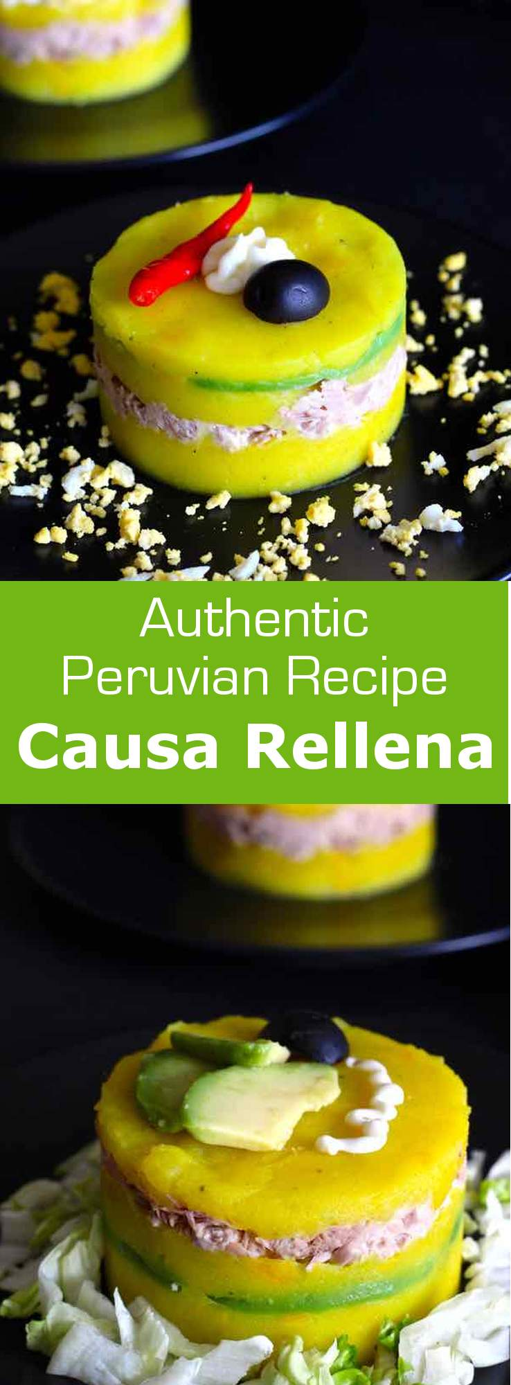 Causa rellena is an iconic recipe from Peru that combines lemony and spiced mashed potatoes with tuna or chicken or seafood and avocado. #southamerica #latinamerica #peru