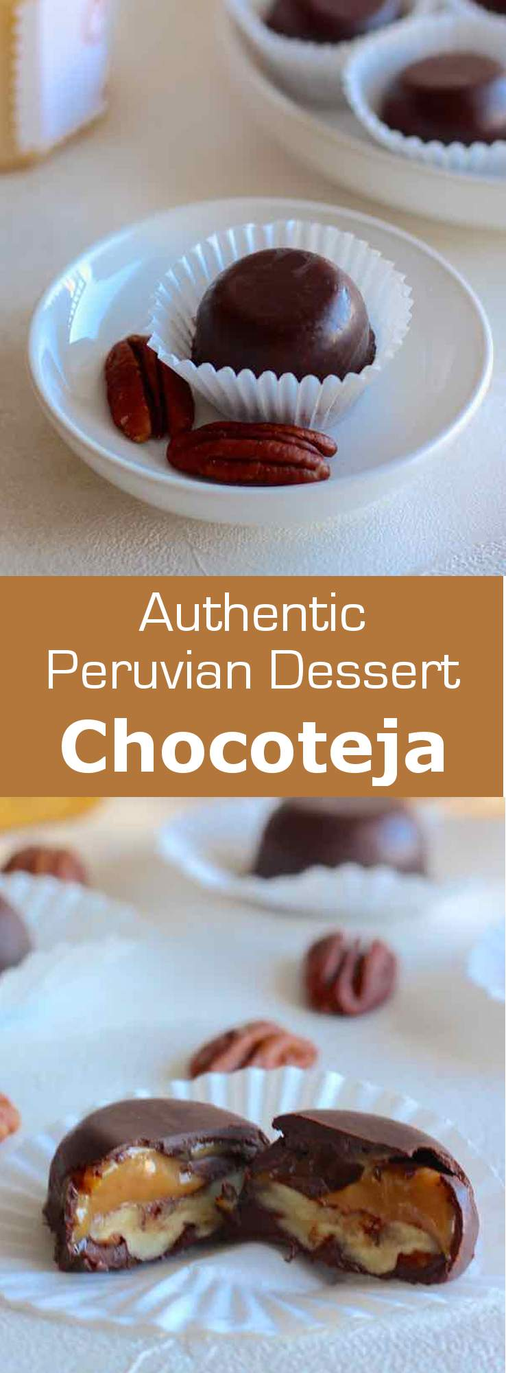 Chocotejas are traditional Peruvian chocolate truffles that are filled with dulce de leche and fruits or dried fruits such as pecans. #dessert #latinamerica #southamerica #peru