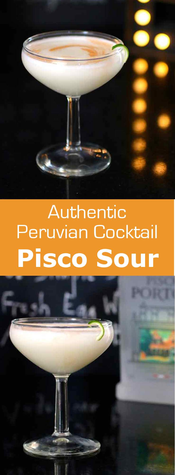 Pisco sour is a traditional Peruvian cocktail based on pisco, lime juice, syrup that is topped with a frothy egg white foam and Angostura bitters. #southamerica #latinamerica #cocktail #peru