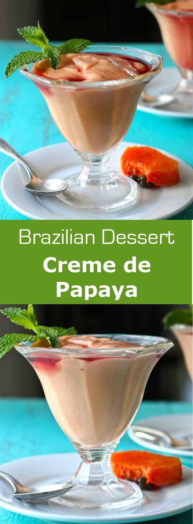 Creme de papaya is a very easy to make luscious Brazilian dessert that consists of papaya blended with vanilla ice cream and topped with creme de cassis. #dessert #brazil #WorldCuisine #196flavors