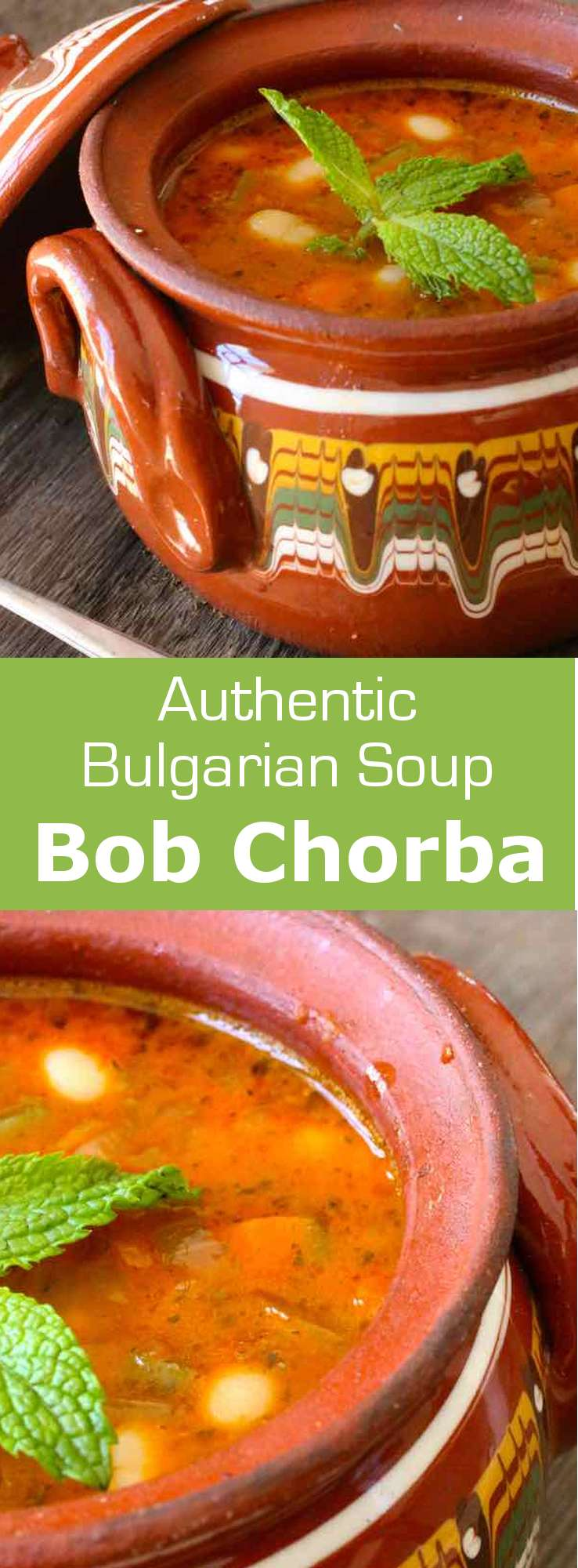 Bob chorba (or bob chorpa) is a hearty and comforting traditional Bulgarian bean soup that is delicately flavored with spearmint.  #Bulgaria #Bulgarian #BulgarianCuisine #BulgarianFood #BulgarianRecipe #Soup #Vegetarian #VegetarianSoup #WorldCuisine #196flavors
