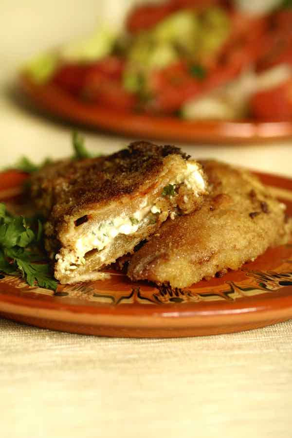 Traditional bulgarian dish made of baked peppers stuffed with feta cheese and fried