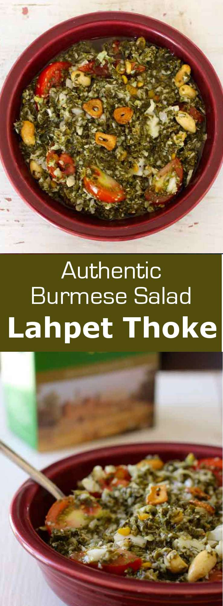 Lahpet thoke is a delicious traditional Burmese salad prepared with fermented tea leaves that features a unique earthy and tangy flavor. #Myanmar #Burma #BurmeseCuisine #Salad #WorldCuisine #196flavors