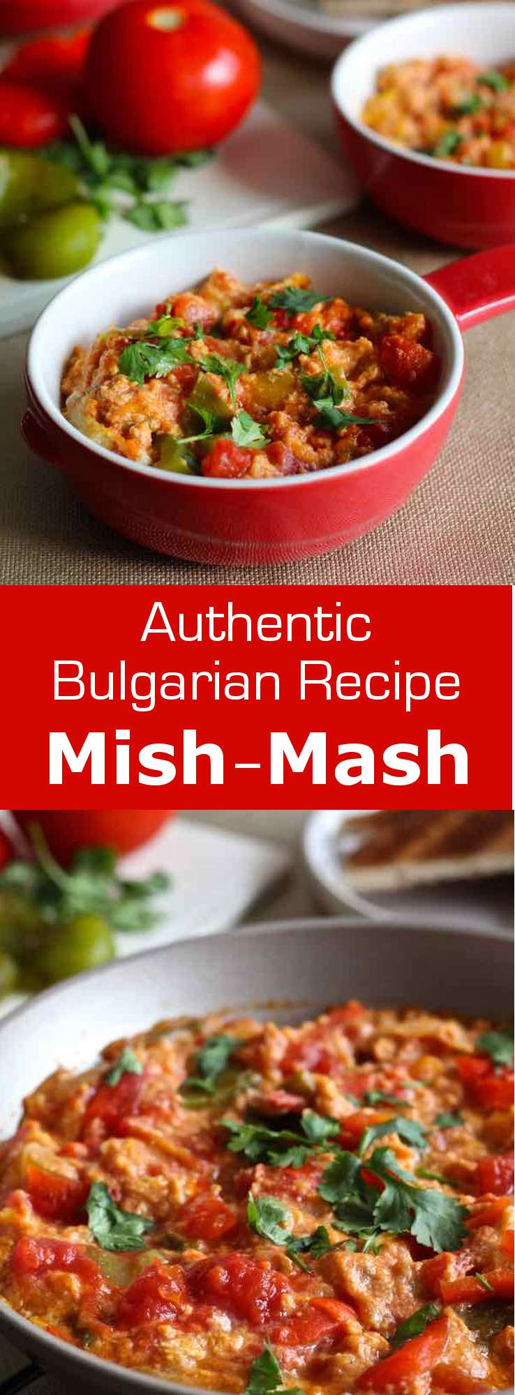 Mish-mash, a delicious omelet with bell peppers, tomatoes and sirene (Bulgarian feta) is the iconic dish of Bulgarian breakfasts. #Bulgaria #Bulgarian #BulgarianCuisine #BulgarianFood #BulgarianRecipe #Salad #WorldCuisine #196flavors
