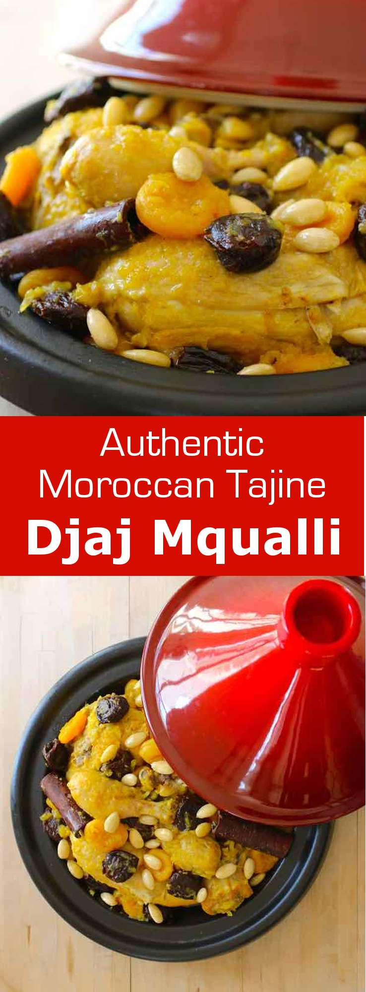 Djaj Mqualli with dried fruits is a popular Moroccan tajine combining the flavors of chicken with the sweetness of prunes, apricots and almonds. #Morocco #Moroccan #196flavors
