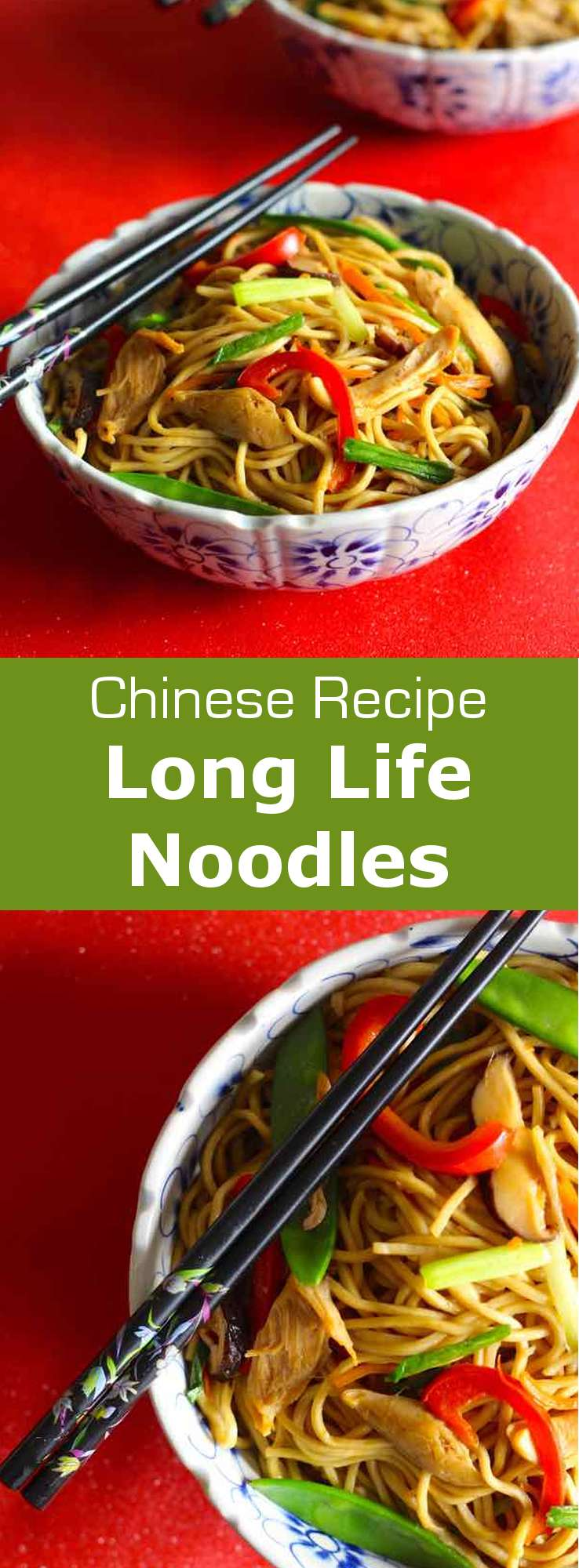 Long life noodles are a traditional Chinese dish of egg wheat noodles that is often served at birthdays and celebrations like Chinese New Year. #Chinese #Asian #ChineseRecipe #ChineseFood #ChineseCuisine #AsianCuisine #AsianRecipe #Noodles #NoodleRecipe #WorldCuisine #196flavors