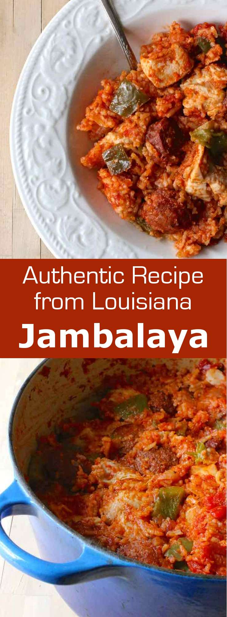 Jambalaya is a delicious traditional one-pot meal from Louisiana that is composed of rice mixed with vegetables and meat or seafood. #Louisiana #MardiGras #Creole #Cajun #196flavors