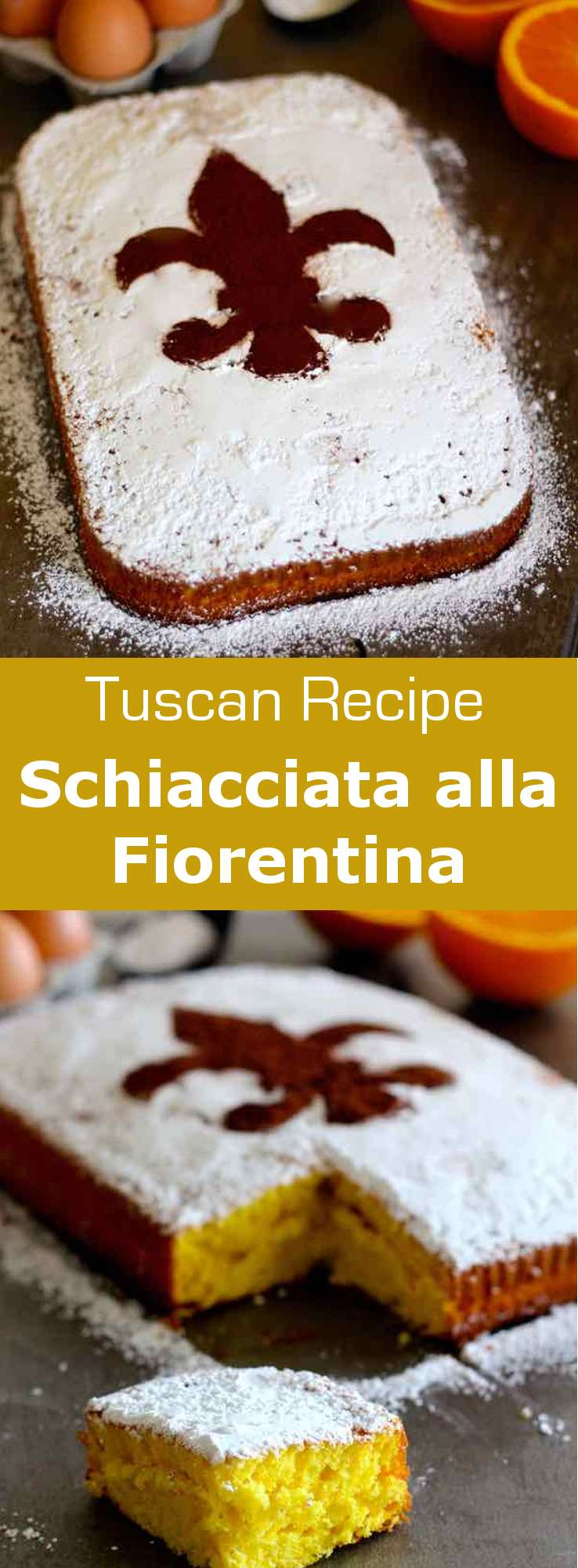 Schiacciata alla fiorentina is an orange-flavored cake that is emblematic of the carnival and mardi gras period in Florence. #Italian #ItalianRecipe #ItalianDessert #ItalianCake #WorldCuisine #196flavors