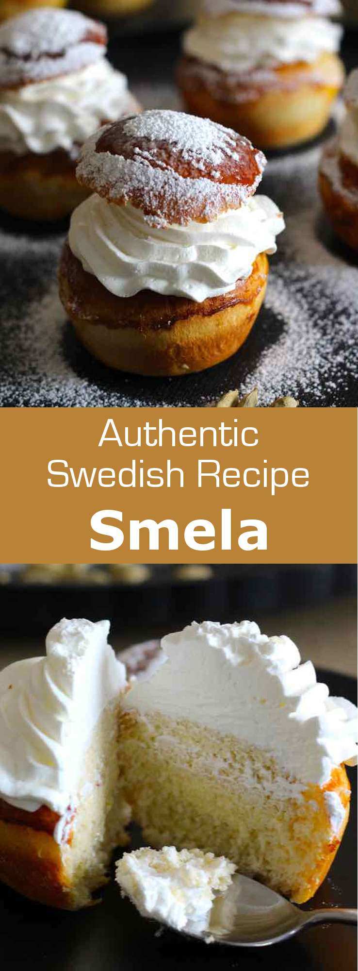 Semla is a traditional Swedish pastry eaten at Mardi Gras. It is a soft milk brioche filled with whipped cream and almond paste. #Sweden #Scandinavia #Norway #Denmark #Dessert #MardiGras #Lent #196flavors