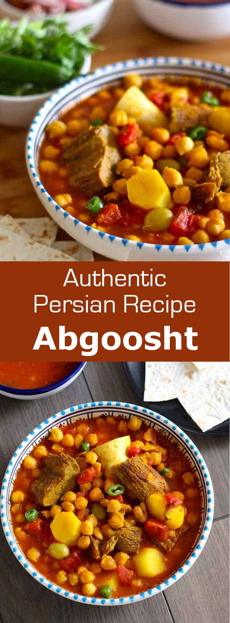 Abgoosht or dizi is a Persian soup or stew that is traditionally prepared with lamb, chickpeas, white beans, potatoes and tomatoes. #Persian #Iranian #PersianCuisine #PersianDish #PersianRecipe #IranianCuisine #IranianDish #IranianRecipe #Soup #PersianSoup #WorldCuisine #MiddleEasternCuisine #196flavors