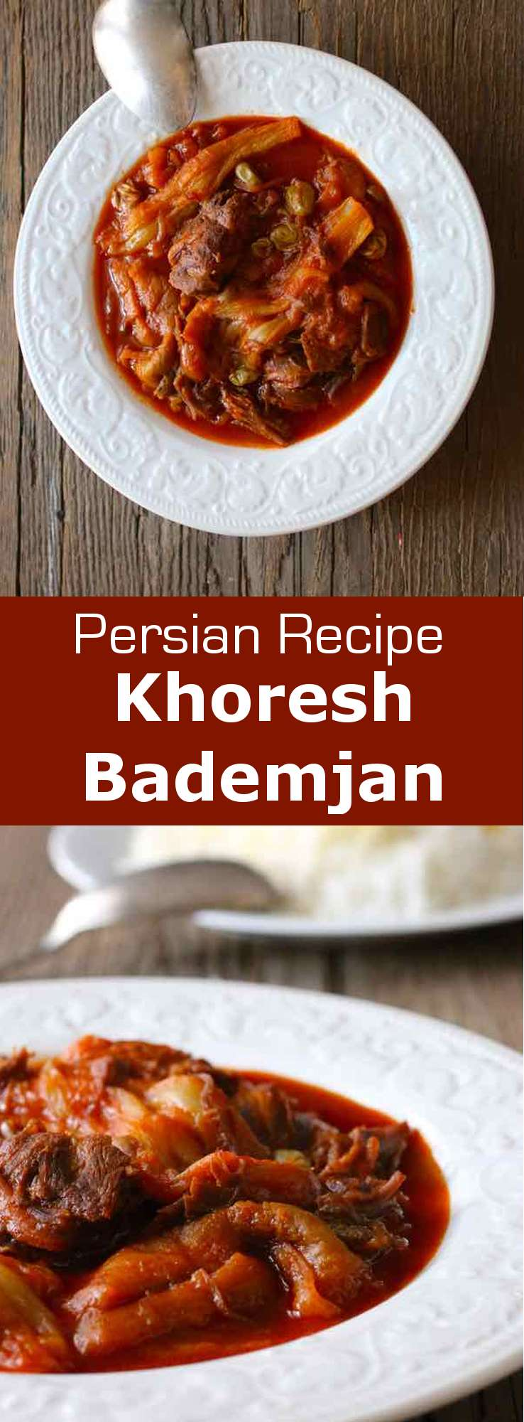Khoresh bademjan is a deliciously balanced Persian stew that is prepared with eggplants, as well as lamb or beef and tomatoes. #Persian #Iranian #PersianCuisine #PersianDish #PersianRecipe #IranianCuisine #IranianDish #IranianRecipe #Khoresh #Stew #PersianStew #WorldCuisine #MiddleEasternCuisine #196flavors