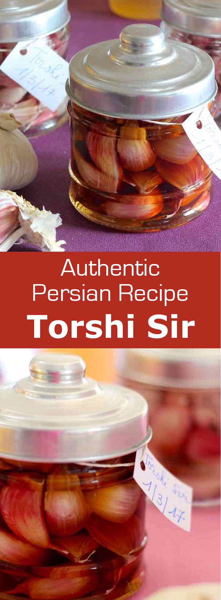 Torshi are pickled vegetables in brine that are popular in the Balkans, the Middle East as well as most Arab countries. Torshi sir is the garlic version. #Persian #PersianCuisine #PersianRecipe #Iranian #IranianCuisine #IranianRecipe #Condiment #WorldCuisine #196flavors