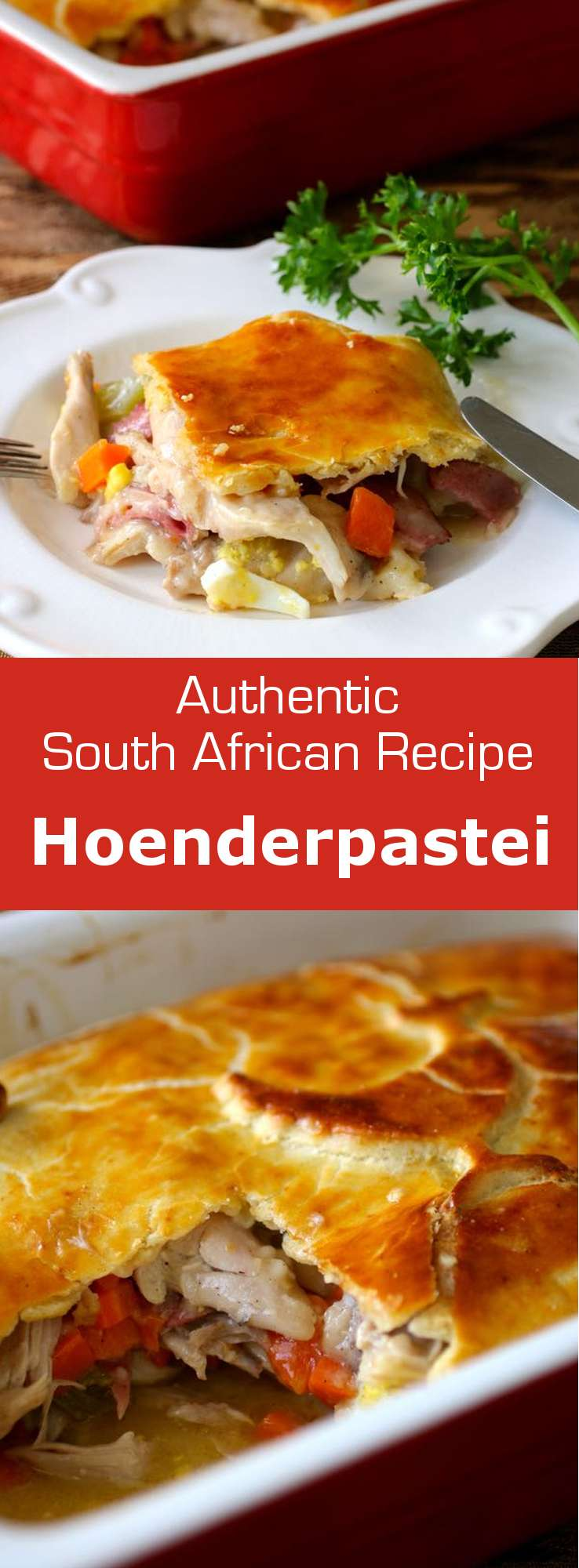 Hoenderpastei is a South African chicken-pot pie topped with a crust, and layered with vegetables, hard-boiled egg and ham slices. #SouthAfrica #196flavors