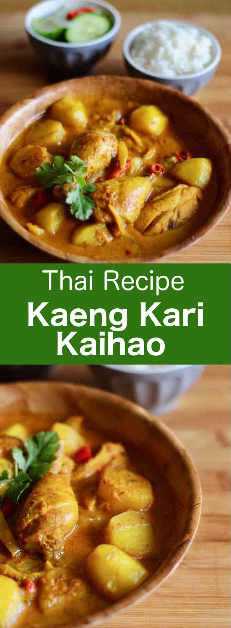 Kaeng kari kai is a Thai yellow curry with chicken. The curry paste that is used is a mixture of spices and herbs that are pounded with a mortar and pestle. #Thai #196flavors