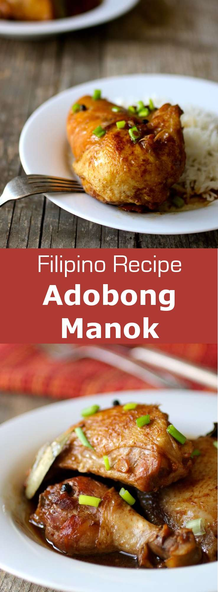 Chicken adobo is a Filipino dish in which chicken marinated in vinegar, soy sauce, garlic and peppercorns, is browned then simmered in the marinade. #Philippines #FilipinoCuisine #WorldCuisine #196flavors