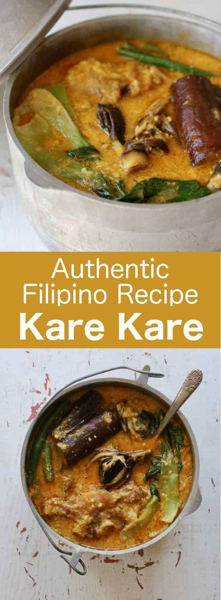 Kare kare is a delicious Filipino oxtail stew prepared with a thick peanut sauce, which is accompanied by a variety of sautéed vegetables. #Philippines #Filipino #196flavors