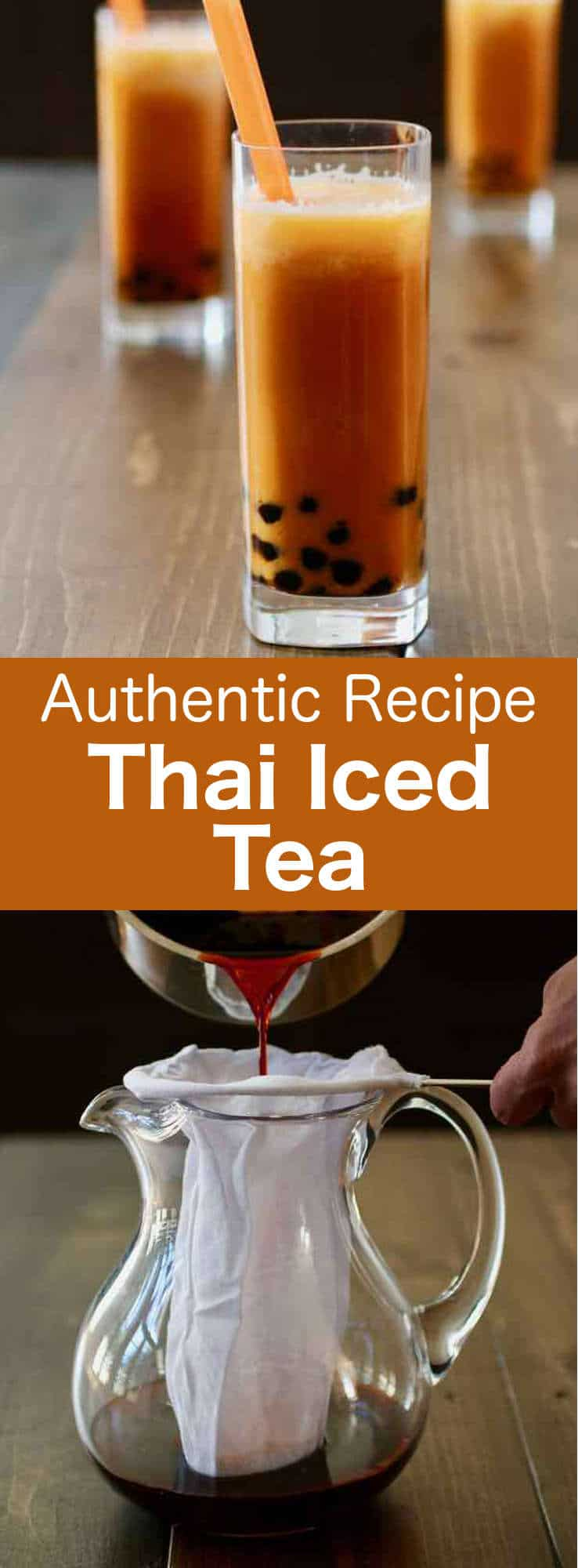 Thai iced tea is an orange-hued cold beverage prepared with black tea, sugar and cream or milk, that is very popular in Thailand and Southeast Asia. #ThaiDrink #ThaiBeverage #ThaiTea #Thailand #ThaiCuisine #ThaiRecipe #WorldCuisine #196flavors