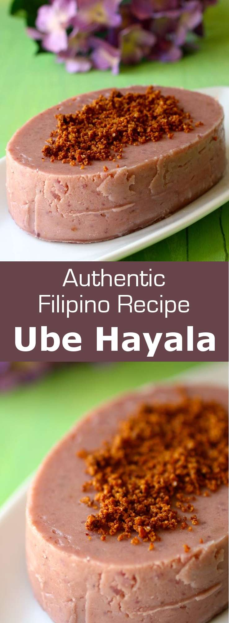 Ube halaya is a traditional Filipino dessert made with purple yam, and often topped with toasted coconut, that is recognizable by its vivid violet color. #Philippines #196flavors