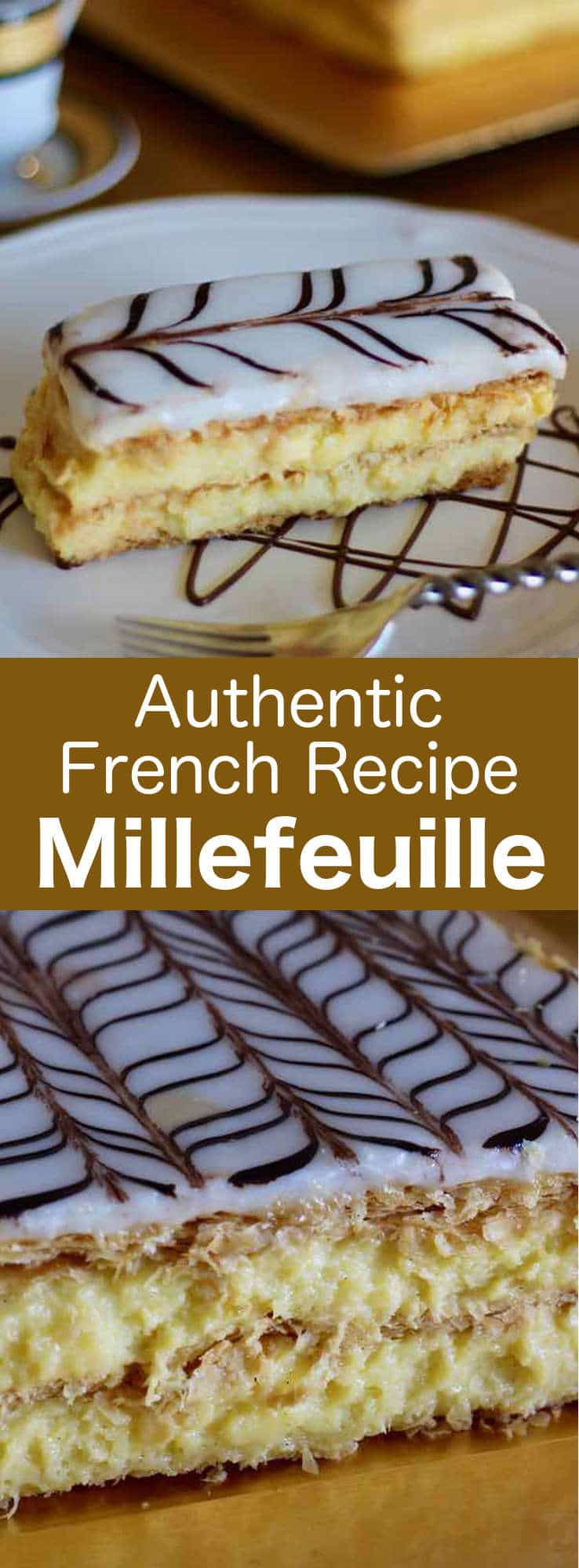 Millefeuille is a French pastry prepared with 3 layers of puff pastry and 2 layers of pastry cream, and that is covered with icing sugar or fondant. #French #pastry #196flavors