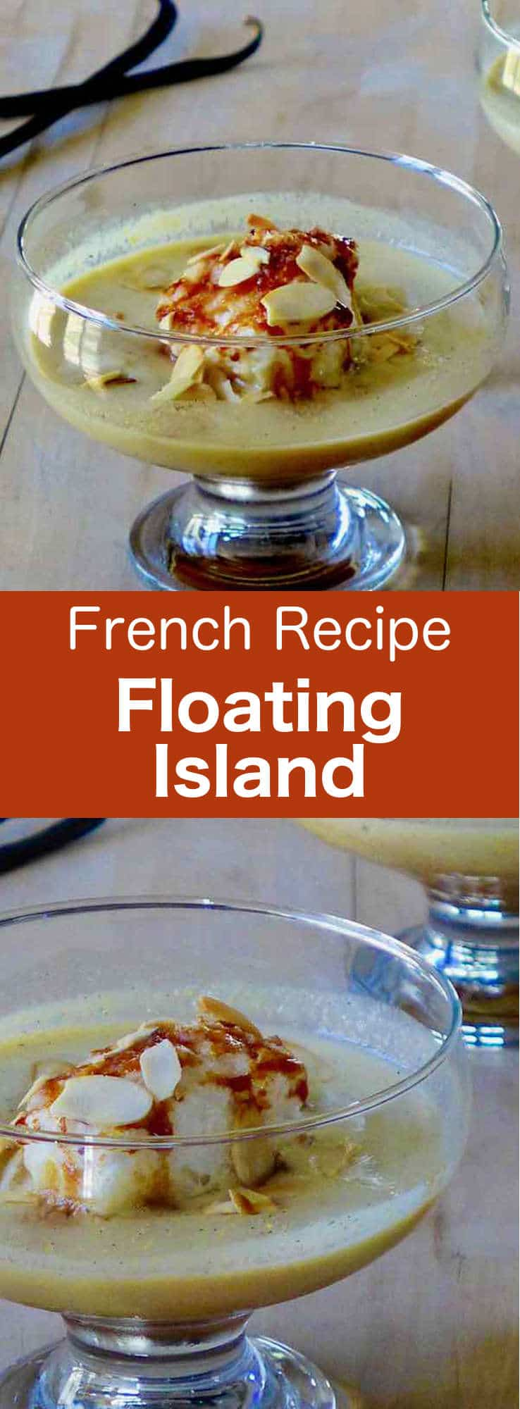 Floating island is a delicious airy French dessert prepared with beaten and poached egg white, placed on custard, and covered with caramel and almonds. #French #196flavors