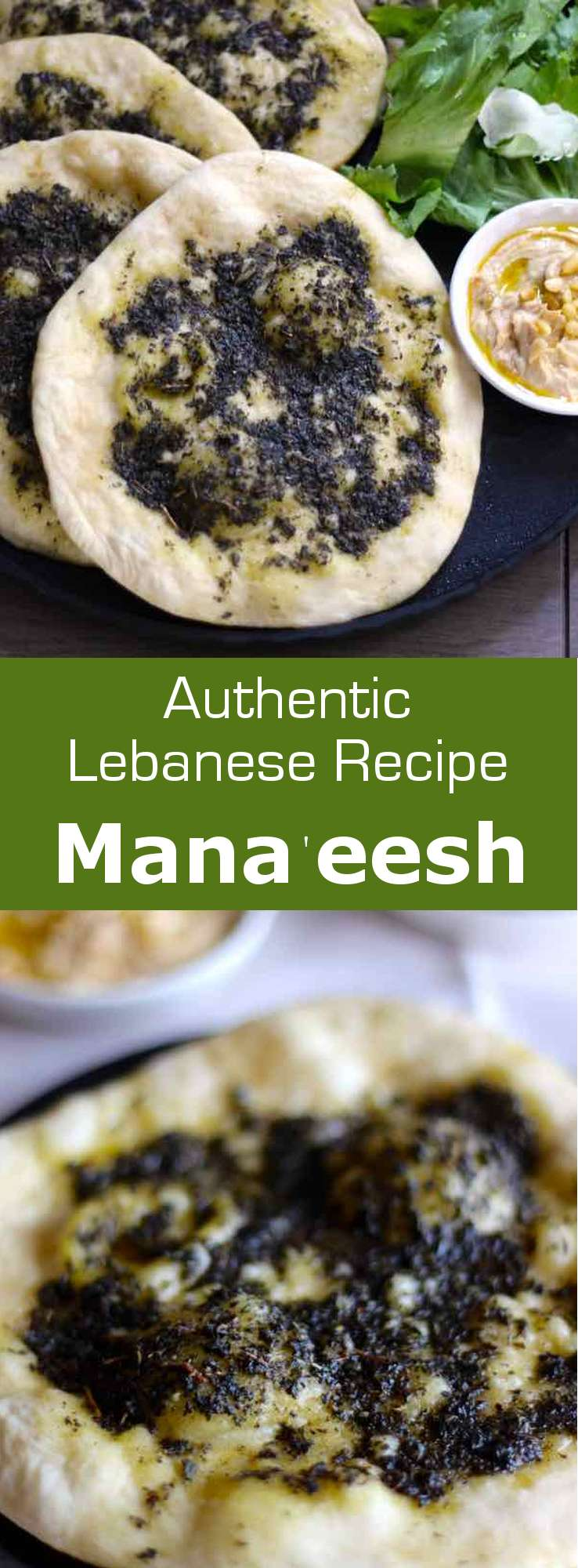 Mana'eesh are traditional Lebanese flatbreads cooked in a saj or pan and deliciously flavored with zaatar or other ingredients. #Lebanon #196flavors