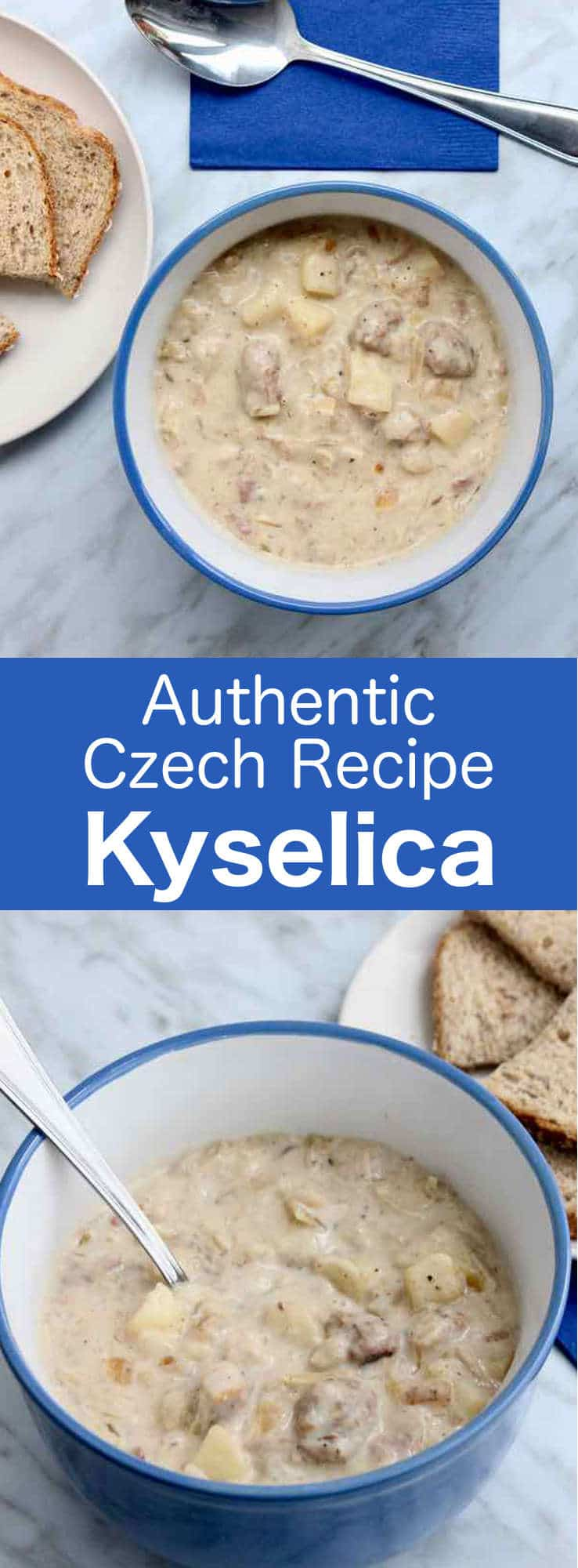 Kyselica is a deliciously thick traditional soup from the Czech Republic consisting of potatoes, sauerkraut and smoked meat. #Czech #CzechRepublic #CzechCuisine #WorldCuisine #196flavors
