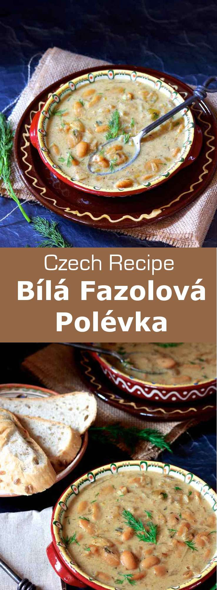 Frugal, filling, and deliciously hearty, this bílá fazolová polévka (white bean soup) is one of the culinary mainstays of the Czech Republic. #CzechRepublic #CzechCuisine #CzechRecipe #Soup #CzechSoup #Vegetarian #VegetarianSoup #WorldCuisine #196flavors