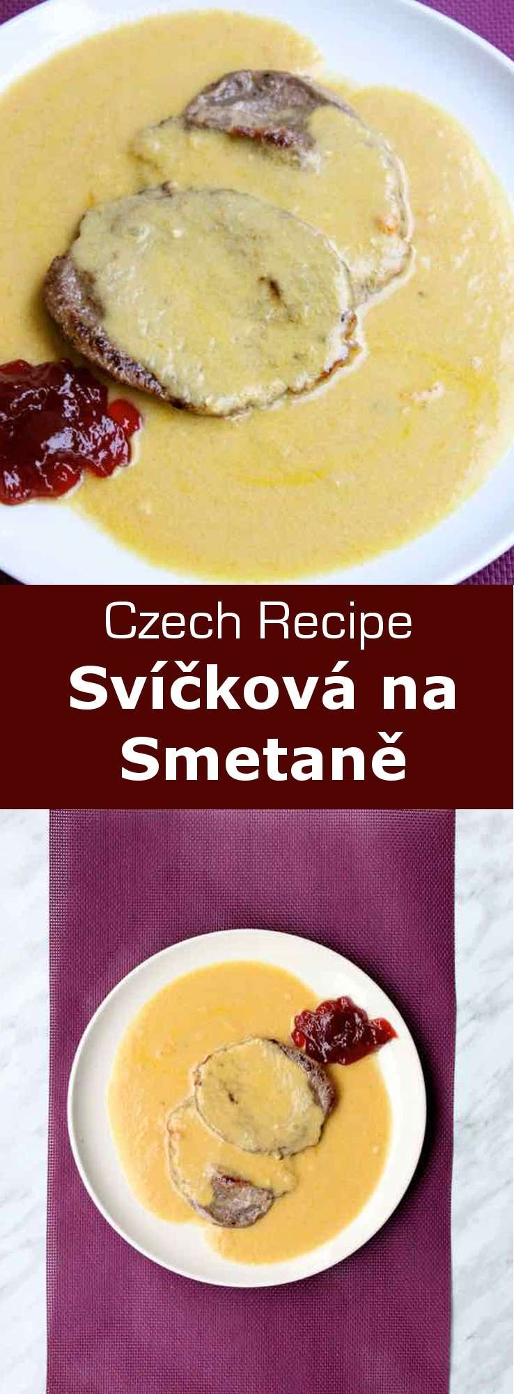 Svíčková na smetaně is a traditional Czech dish made with beef sirloin and vegetables like carrots and root vegetables, and cooked in a creamy sauce. #Czech #CzechCuisine #CzechRecipe #WorldCuisine #196flavors