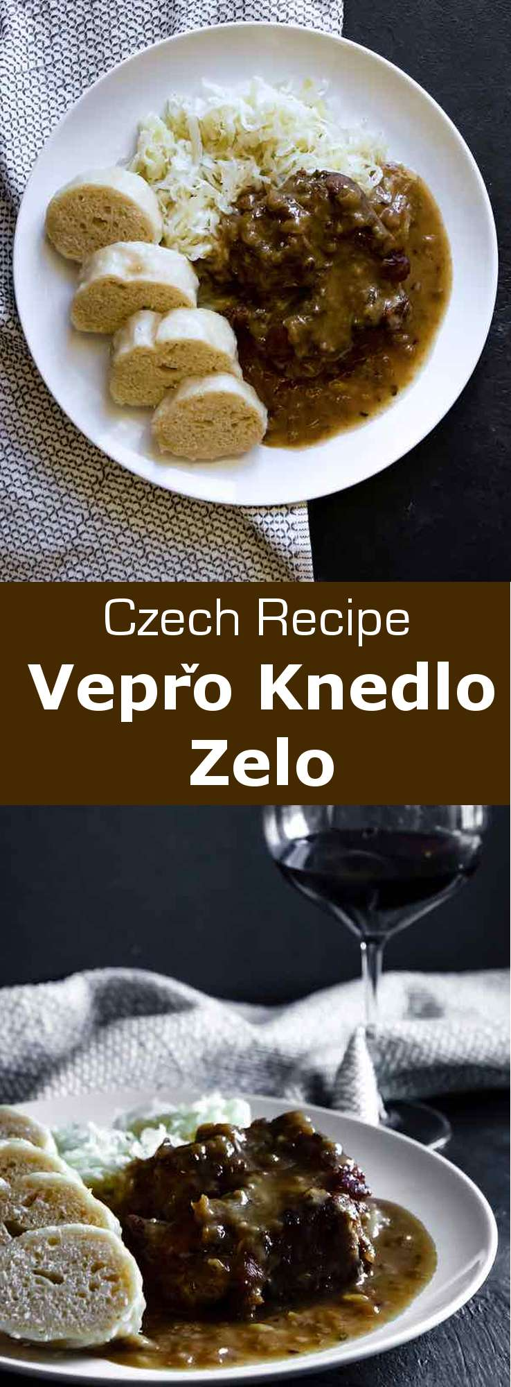 Vepřo knedlo zelo, short for roast pork (vepřová), bread dumplings (knedlíky) and sauerkraut (zelí) is one of the most classic and traditional Czech dishes. #CzechRepublic #CzechCuisine #CzechRecipe #CzechRoast #CzechDumpling #Sauerkraut #WorldCuisine #196flavors