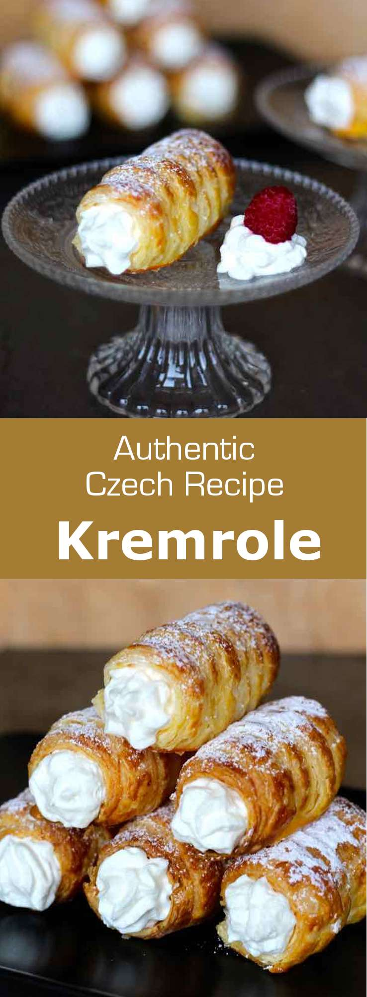 Kremrole is a deliciously crispy roll-shaped puff pastry that is filled with meringue or whipped cream that is popular in the Czech Republic, Austria, Germany and Slovakia. #CzechRepublic #CzechCuisine #CzechRecipe #Dessert #CzechDessert #Pastry #CzechPastry #Vegetarian #VegetarianPastry #WorldCuisine #196flavors