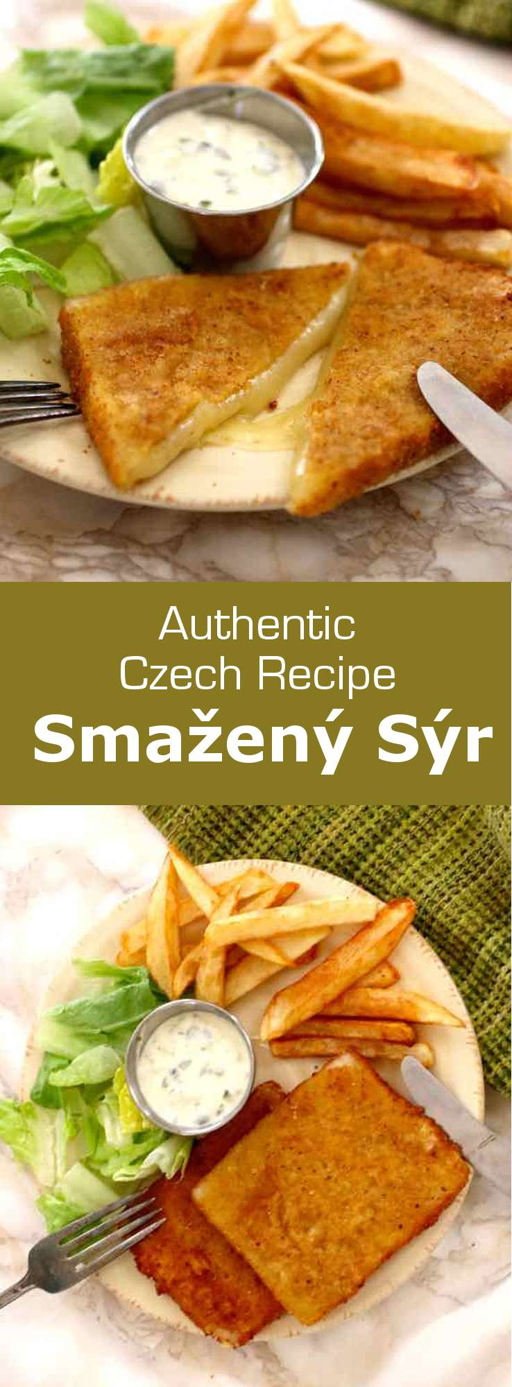 Smažený sýr (fried cheese in Czech) is prepared with slices of cheese that are breaded before being fried. It is traditionally served with tartar sauce and French fries. #CzechRepublic #CzechCuisine #CzechRecipe #Cheese #CheeseRecipe #Vegetarian #WorldCuisine #196flavors