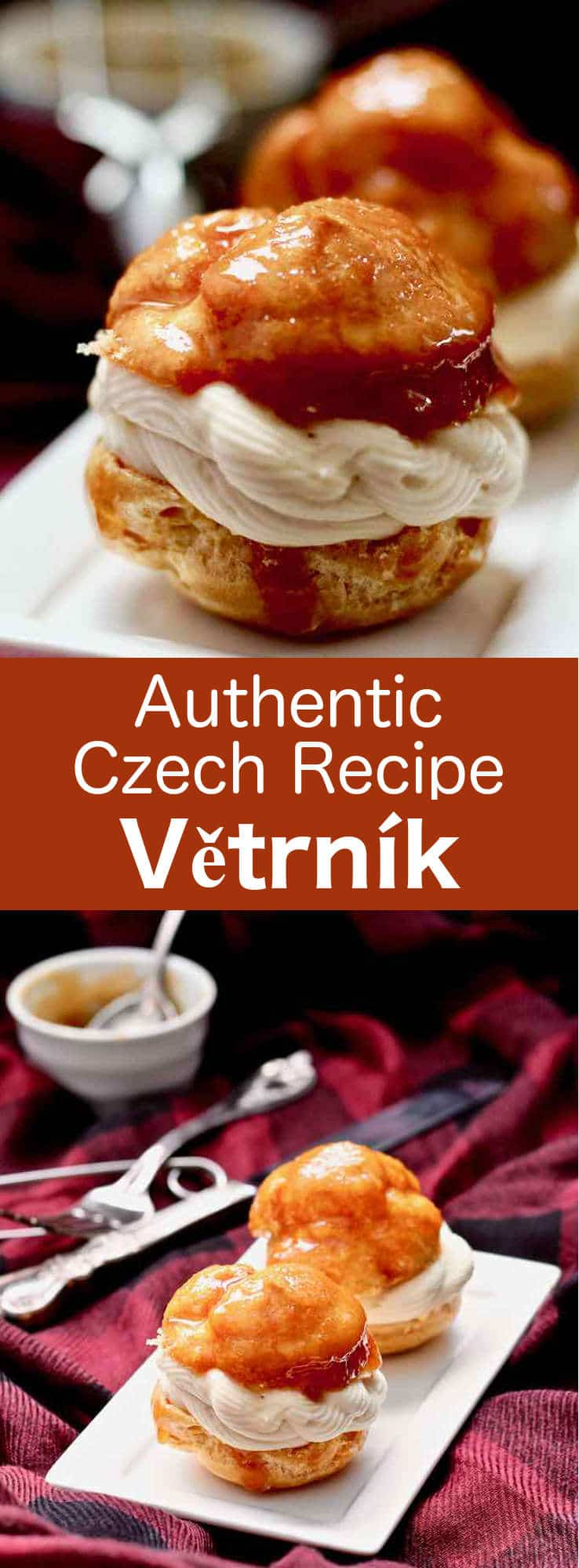 Větrník is a delicious little choux pastry topped with caramel and vanilla cream, and covered with a glossy caramel icing, that is popular in the Czech Republic. #CzechRepublic #CzechCuisine #CzechRecipe #Dessert #CzechDessert #Vegetarian #WorldCuisine #196flavors