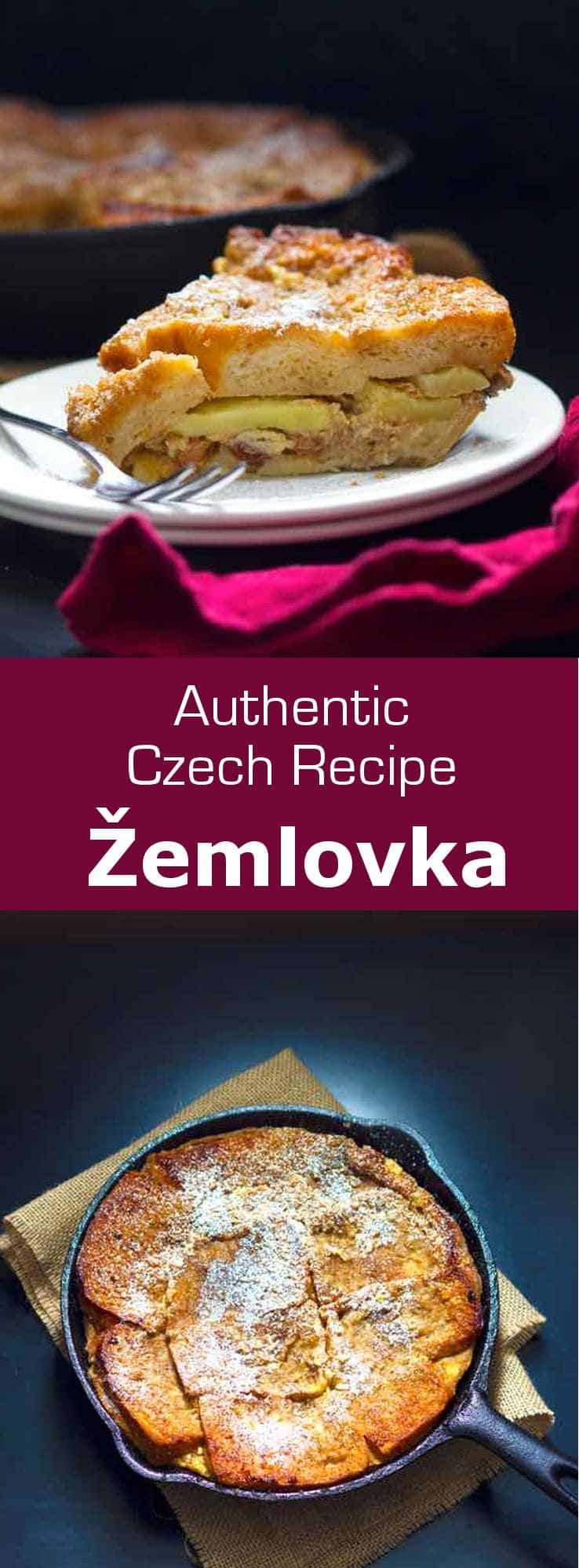 Žemlovka (aka zemlbába) is a deliciously sweet and fruity, mildly-spiced custard and bread-based dish from the Czech Republic #CzechRepublic #CzechCuisine #CzechRecipe #Dessert #CzechDessert #Vegetarian #WorldCuisine #196flavors