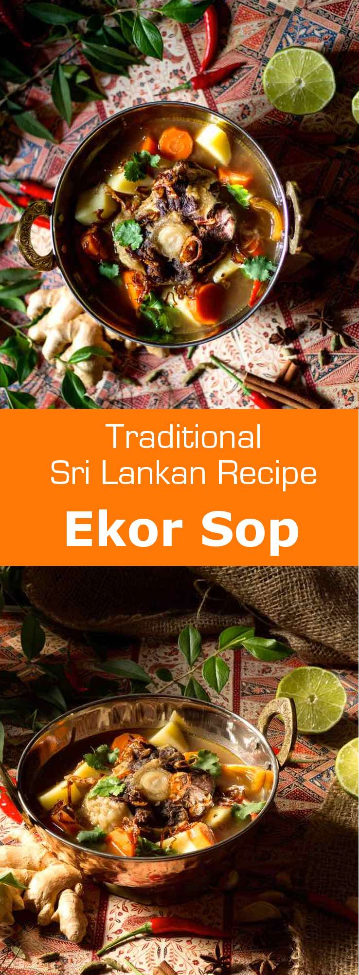 Ekor sop is a delicious Sri Lankan oxtail soup, rich in spices, that originated from the Malay community. #SriLanka #SriLankanCuisine #SriLankanSoup #Soup #SoupRecipe #SriLankanRecipe #WorldCuisine #196flavors