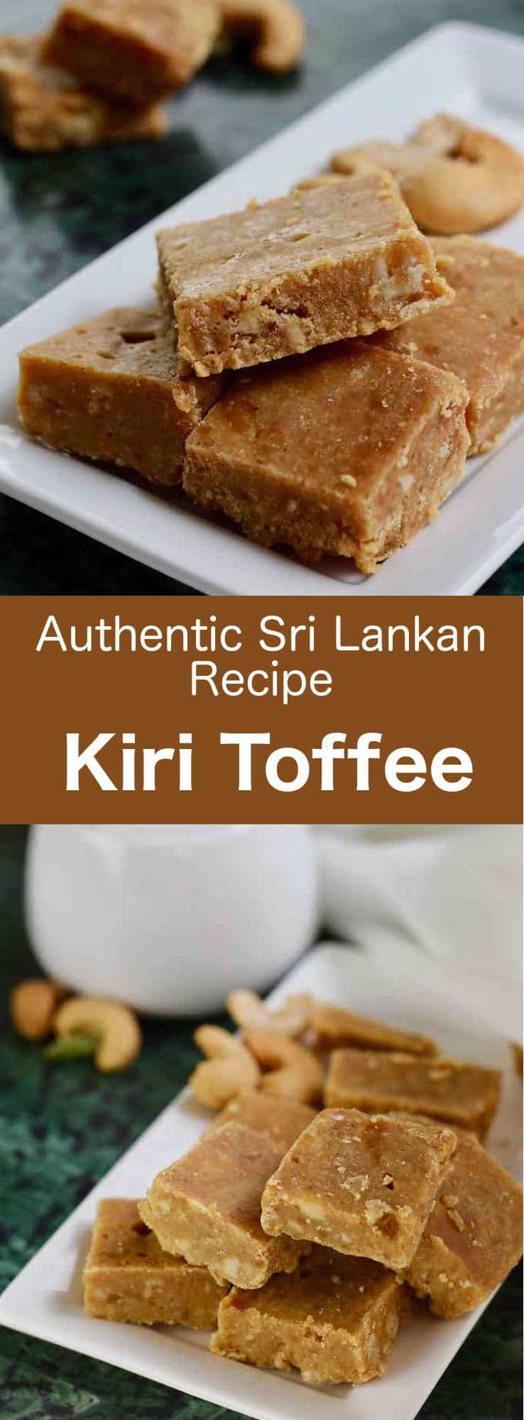 Kiri aluwa (milk toffee or kiri toffee) is a traditional recipe of delicious cardamom flavored soft toffee with crunchy cashew nuts, that is very popular in Sri Lanka. #SriLanka #SriLankanCuisine #SriLankanDessert #Dessert #DessertRecipe #SriLankanRecipe #Toffee #ToffeeRecipe #WorldCuisine #196flavors