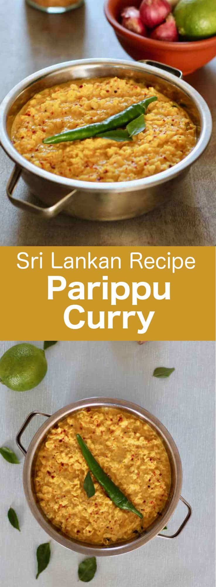 Parippu curry (or dhal curry) is a traditional Sri Lankan dish prepared with masoor dal (red lentils), cooked in coconut milk and scented with mustard seeds, saffron, turmeric, cumin and fenugreek. #SriLanka #SriLankanCuisine #SriLankanCurry #SriLankanRecipe #WorldCuisine #196flavors