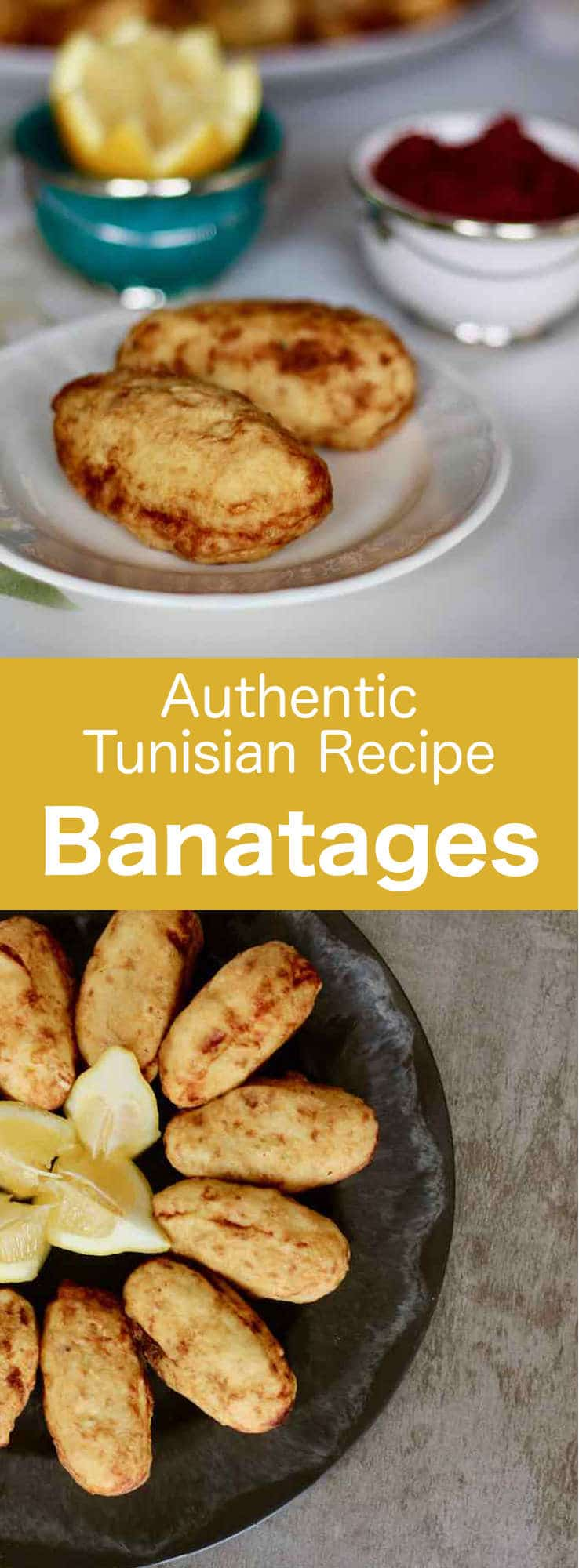 Banatages are delicious meat-filled fried potato croquettes that are originally from Tunisia. They can be served as an appetizer,. drizzled with lemon juice, or as a main course with a salad. #Tunisia #Tunisian #TunisianCuisine #TunisianRecipe #NorthAfricanCuisine #NorthAfricanRecipe #NorthAfrica #Maghreb #MaghrebCuisine #croquette #WorldCuisine #196flavors