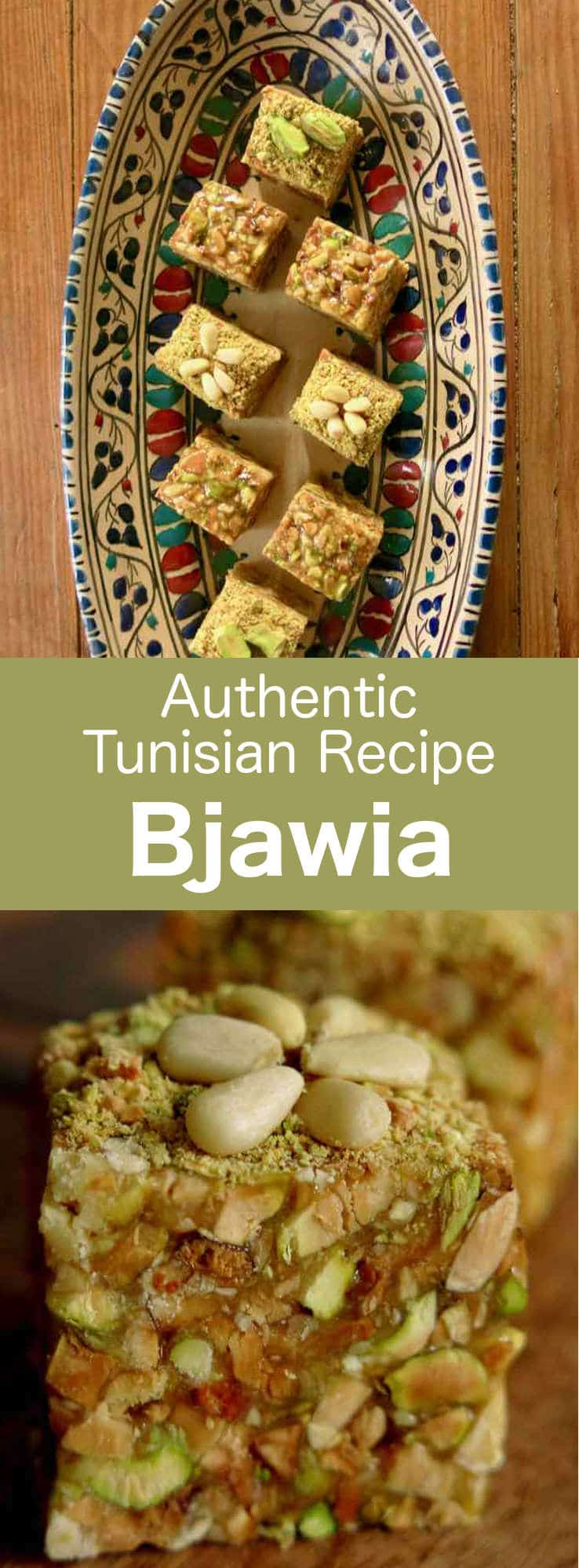 Bjawia is a Tunisian dessert that is prepared with roasted dried fruits which deliver all their aromas in a soft syrup to form a divine bite-size pastry filled with pistachios. #Tunisia #Tunisian #TunisianCuisine #TunisianRecipe #NorthAfricanCuisine #NorthAfricanRecipe #NorthAfrica #Maghreb #MaghrebCuisine #Pastry #Dessert #WorldCuisine #196flavors