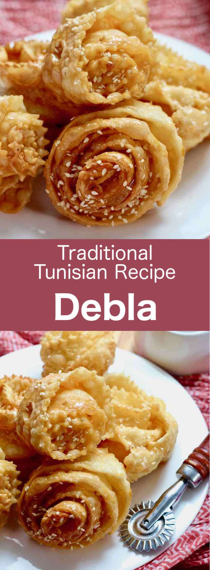 Debla (or Ouedhnine el Kadhi) is a Tunisian pastry which consists of a thin strip of dough that is fried before being coated with an orange blossom water scented syrup, and sprinkled with sesame seeds or crushed nuts. #Tunisia #Tunisian #TunisianCuisine #TunisianRecipe #NorthAfricanCuisine #NorthAfricanRecipe #NorthAfrica #Maghreb #MaghrebCuisine #Pastry #TunisianPastry #NorthAfricanPastry #WorldCuisine #196flavors