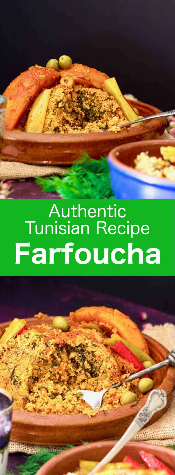 Tunisian farfoucha is a deliciously hearty dish of fragrant steamed couscous and fennel leaves with a rich and spicy tomato-based vegetable stew. #Tunisia #Tunisian #TunisianCuisine #TunisianRecipe #NorthAfricanCuisine #NorthAfricanRecipe #NorthAfrica #Maghreb #MaghrebCuisine #Couscous #Vegan #Vegetarian #WorldCuisine #196flavors