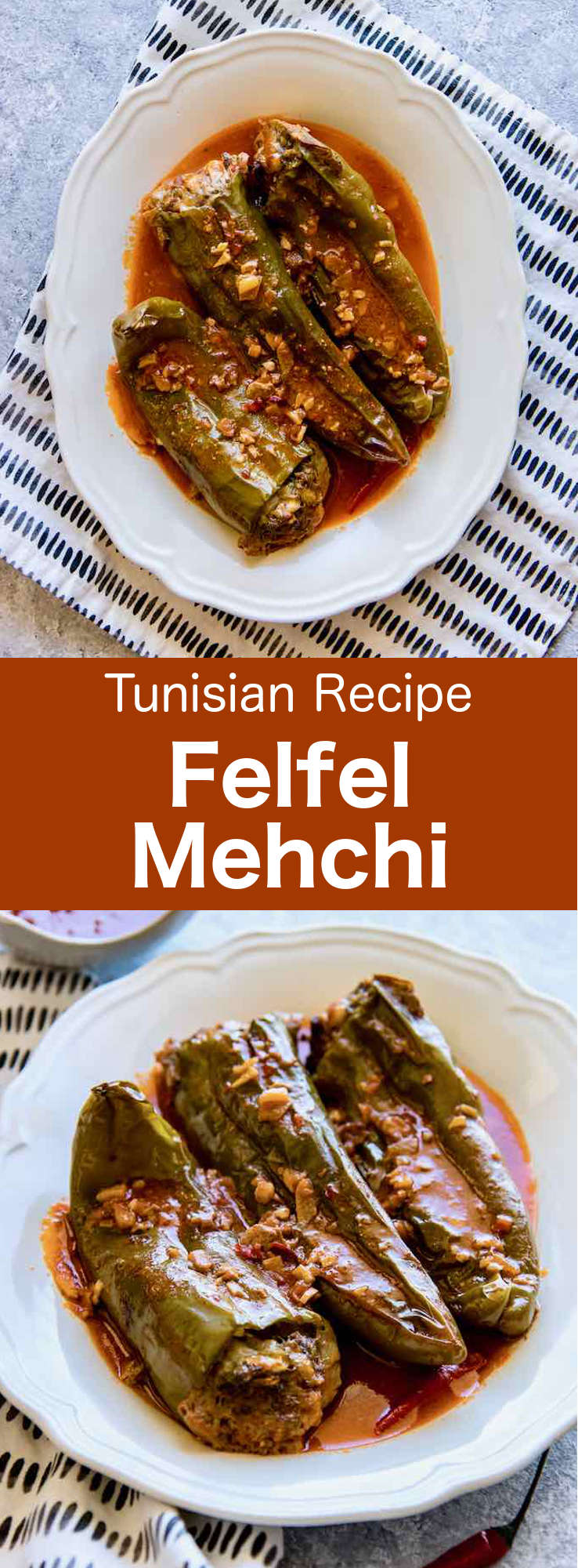 Felfel mehchi, a stuffed pepper dish from Tunisia made with bull horn bell peppers stuffed with ground beef, cheese, vegetables, and spices, and topped with a spicy red sauce. #Tunisia #Tunisian #TunisianCuisine #TunisianRecipe #NorthAfricanCuisine #NorthAfricanRecipe #NorthAfrica #Maghreb #MaghrebCuisine #WorldCuisine #196flavors