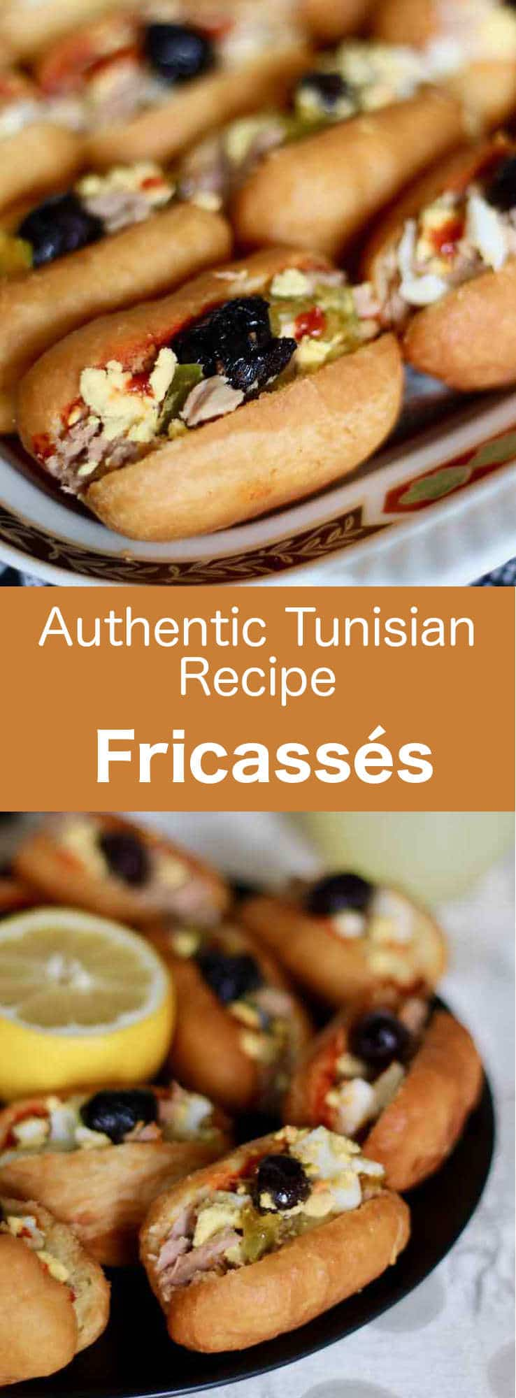 Fricassé is a delicious small savory fried brioche of Tunisian origin, that is filled with potato, harissa, tuna, black olives, hard-boiled egg and slata mechouia. #Tunisia #Tunisian #TunisianCuisine #TunisianRecipe #NorthAfricanCuisine #NorthAfricanRecipe #NorthAfrica #Maghreb #MaghrebCuisine #kemia #WorldCuisine #196flavors
