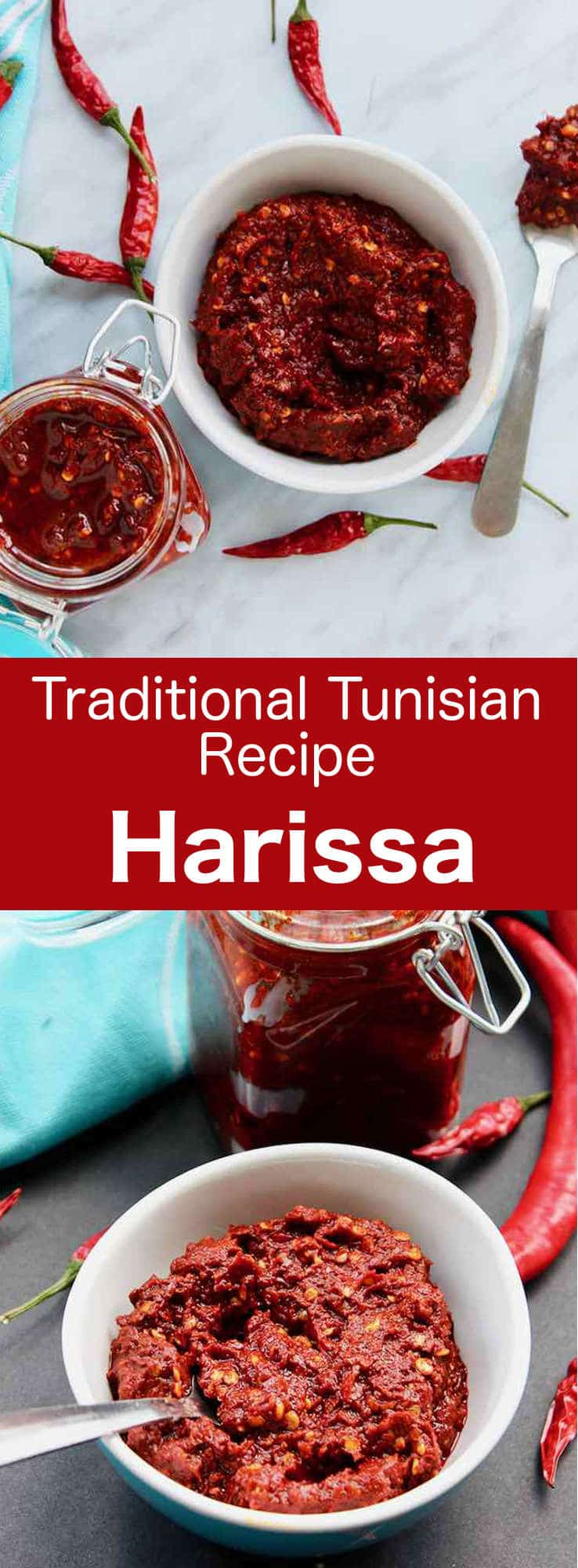 Harissa is a Tunisian hot chili paste, which is sometimes described as Tunisia's main condiment. Bright red in color, it is served with most meals as a dip and is often used as an ingredient in stews and soups. #Tunisia #Tunisian #TunisianCuisine #TunisianRecipe #NorthAfricanCuisine #NorthAfricanRecipe #NorthAfrica #Maghreb #MaghrebCuisine #WorldCuisine #196flavors